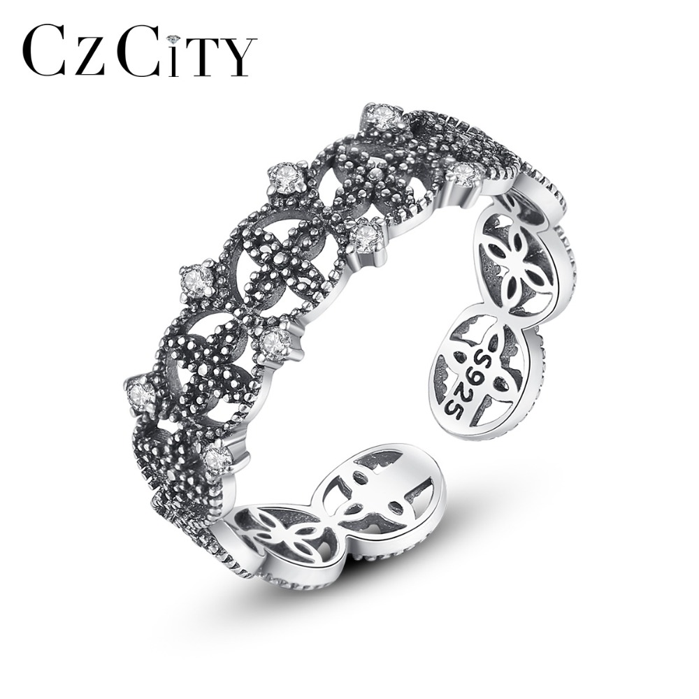 CZCITY Flower Design Adjustable Thai Silver Open Rings for Women Party Dating Popular CZ Exquisite Female Jewelry Christmas Gift