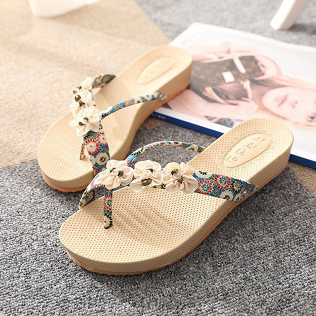 Women Bohemia Slipper Floral Leisure Lady Sandals Outdoor Beach Toepost Shoes