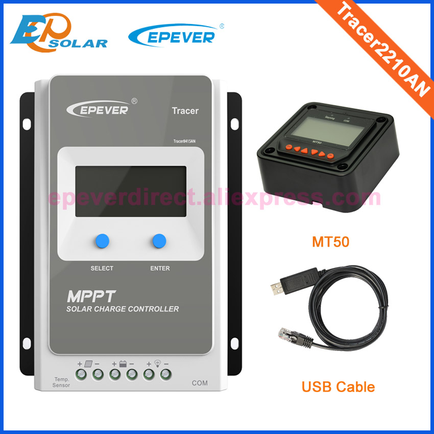 EPEVER 20A MPPT Solar Charge Controller Tracer2210AN 12V 24V Auto Work 100VDC input EPSOLAR Solar Regulator with MT50 & USB 30a mppt solar charge controller regulator tracer7810bp high efficiecny 12v 24v auto work with pc usb communication cable