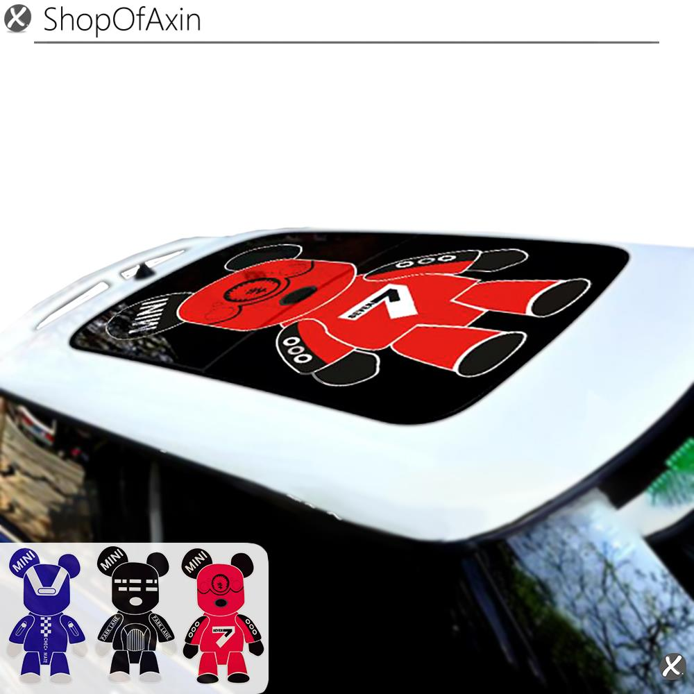 Car Sunroof Sticker Decoration 3type Bear Moonroof stickers for Mini Cooper clubman countryman hardtop R55 R56 R60 R61 F55 F56 sun protection cool hat car logo for mini cooper s r53 r56 r60 f55 f56 r55 f60 clubman countryman roadster paceman car styling