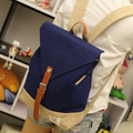 2016 square shape Korean style color contrast canvas women backpack college student school book bag leisure backpack travel bag