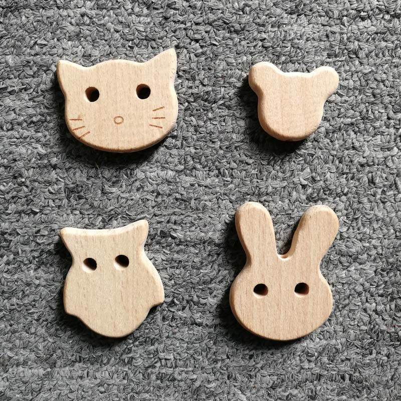 1PCS Beech Wood Teether Chew Beads Bear Teething Beads For Baby Nursing Necklace/Bracelet DIY Toys Wooden Baby Teethers