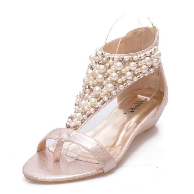 d9d14b65c01 Bohemia summer shoes woman pearl beading gladiator sandals T-strap small  wedges shoes woman glitter cloth sandalias mujer c199