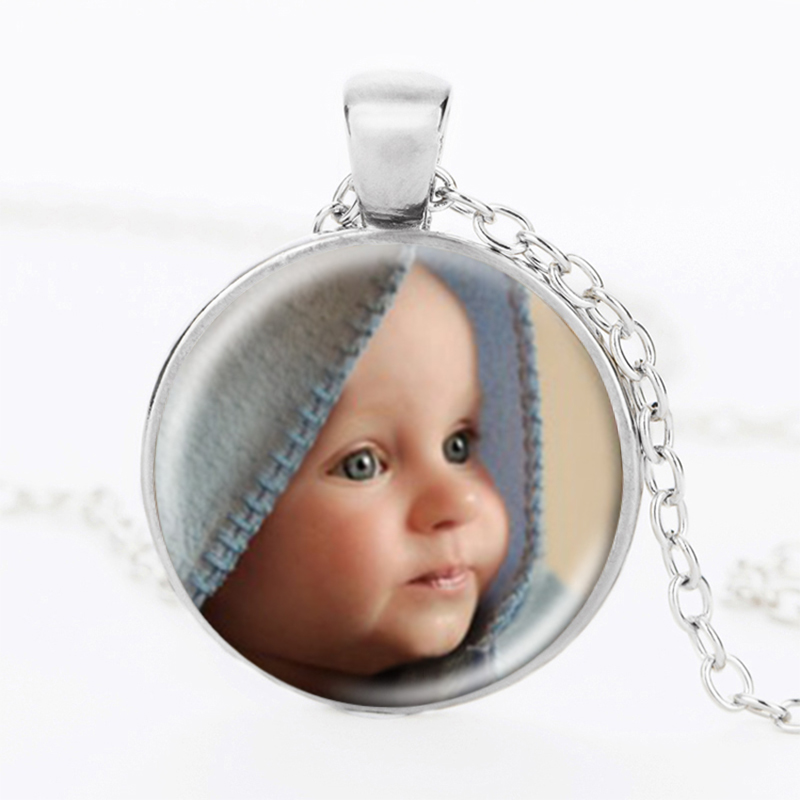 Personalized Photo Pendants Custom Necklace Photo of Your font b Baby b font Child Mom Dad