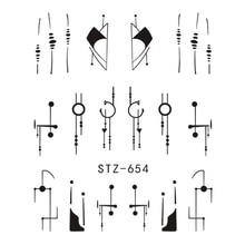 1 Sheet Water Nail Stickers Black Cartoon Animal Flamingo Fox Hollow Designs Sliders For Nail Decals DIY Manicure SASTZ651-654