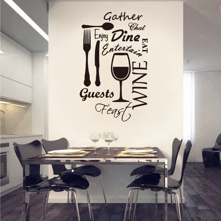 Wall Decoration Murale Us 8 99 25 Off B43 Kitchen Word Vinyl Wall Art Stickers Dining Food Wine Quotes Wall Decals Restaurant Decoration Mural Home Decor In Wall Stickers