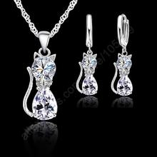 Jewellery Sets Accessories Genuine 925 Sterling Silver Color Cubic Zirconia Cat Kitty Necklace Pendant+Leverback Earrings Hot(China)