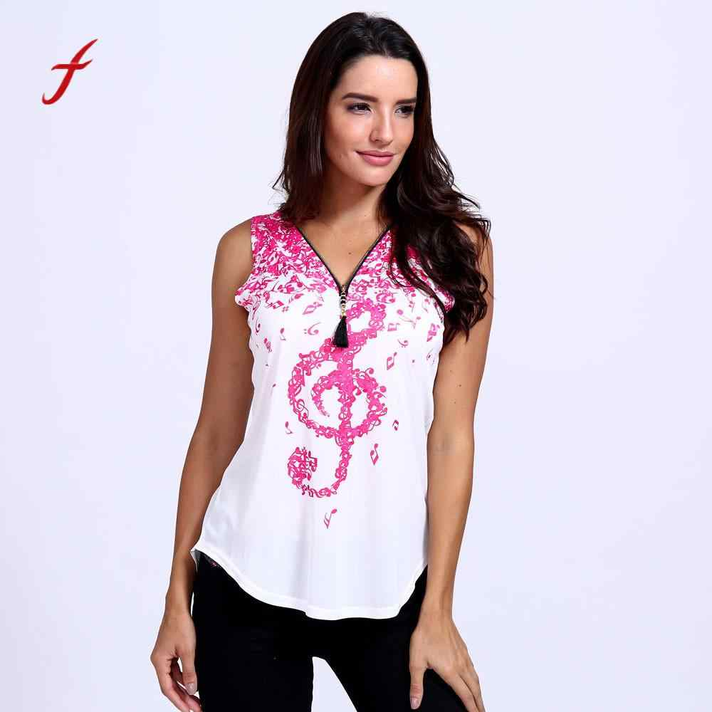Feitong Женская модная футболка женская с принтом музыкальных нот без рукавов Женская с v-образным вырезом на молнии футболка s Женская Harajuku плюс размер boho
