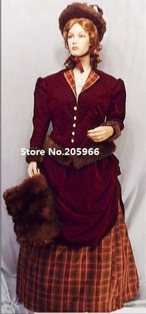 Gratuite Bustle Rouge Bourgogne Costume Coton Post Civile Velours Victorienne 1880 S Guerre Livraison kiuTOZPX