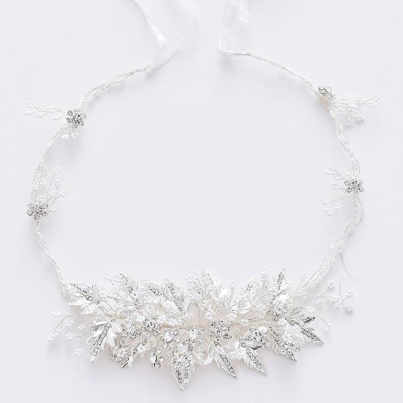 Jonnafe Bridal Forehead Tiara Silver Leaf Women Headpiece For Party Prom Pearls Hair Jewelry Wedding Headband