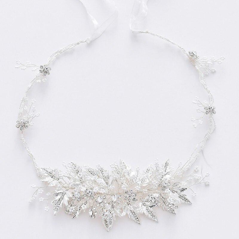 Jonnafe mariée front tiare feuille d'argent femmes casque pour fête bal perles cheveux bijoux mariage bandeau accessoires
