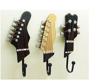 Novelty Hooks personality guitar wall hook decoration fashion coat hooks hat