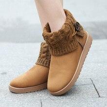 Plus Größe 35-41 Frauen 2016 Schnalle Schneeschuhe Woolen Ankle stiefel Winter Warm Plattform Schuhe Frau Flache Ferse Botas Mujer Bottes