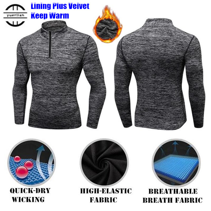Men Shapers Plus Fleece Trainning&Exercise Sweater 3D Tight Elastic  Wicking Sport GYM Running Long Sleeve Stand Collar Sweaters