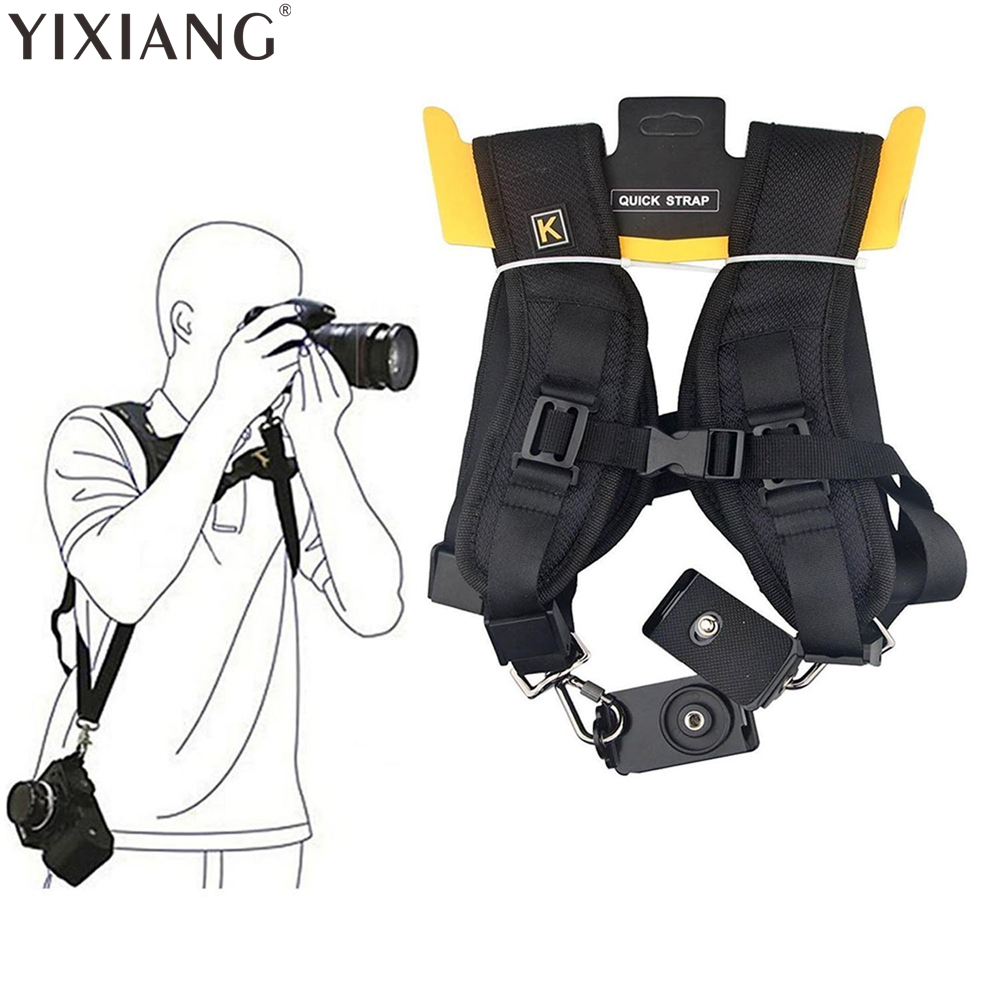 YIXIANG Black Double Dual Camera Shoulder Strap Quick Rapid Sling Camera Belt Adjustment for Cameras Digital SLR DSLR ...