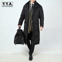 Зимняя деловая мужская длинная пуховая куртка свободные утепленные парки с капюшоном ветровка мужская s Пальто повседневные Большие разме