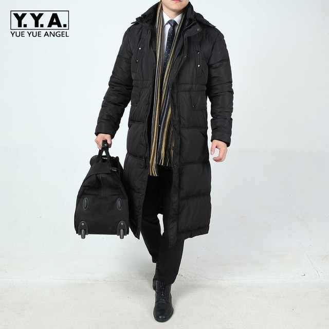 6c4a80e3a04c7 Winter Business Men Long Down Jacket Loose Thicken Warm Parkas Hooded  Windbreaker Mens Overcoats Casual Large Size L-6XL Coats