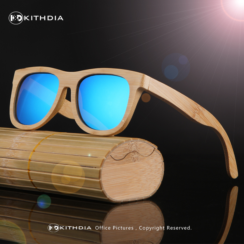 KITHDIA New Fashion Products Män Kvinnor Glas Polariserade Bambu Solglasögon Retro Vintage Wood Lens Träram Handgjord