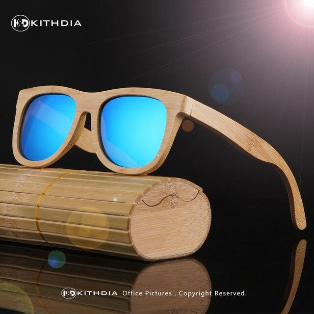 Productos KITHDIA Nueva Moda Hombres Mujeres Lente de Vidrio Polarizado Gafas de Sol Retro de Madera De Bambú Marco De Madera Hecho A Mano