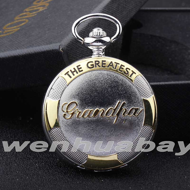 2017 Luxury Gold Silver The Greatest Grandpa Pocket Watch Men's Best Gifts Fob Chain Necklace Pendant Quartz Pocket Watch P337