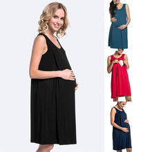 2019 Summer Sleepwear Maternity Pregnancy Pajamas Breastfeeding Dress Women Hospital Maternity Clothes Sexy Premama Home Dress belva summer 2017 maternity dresses pregnancy a line breathable ultra soft bamboo fiber dress easy breastfeeding dress 454795