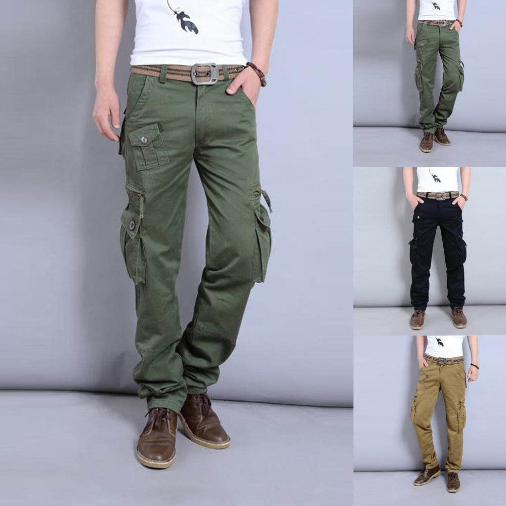 Men's New Fashion Casual Outdoors Solid Work Trousers Multi-pocket Long Pant Trousers Casual Male Solid Loose cargo pants Jogger