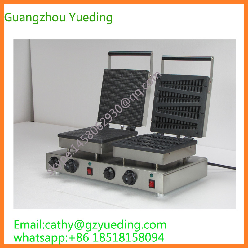 Electric snack equipment/ double head Waffle baker/ Waffle maker directly factory price commercial electric double head egg waffle maker for round waffle and rectangle waffle