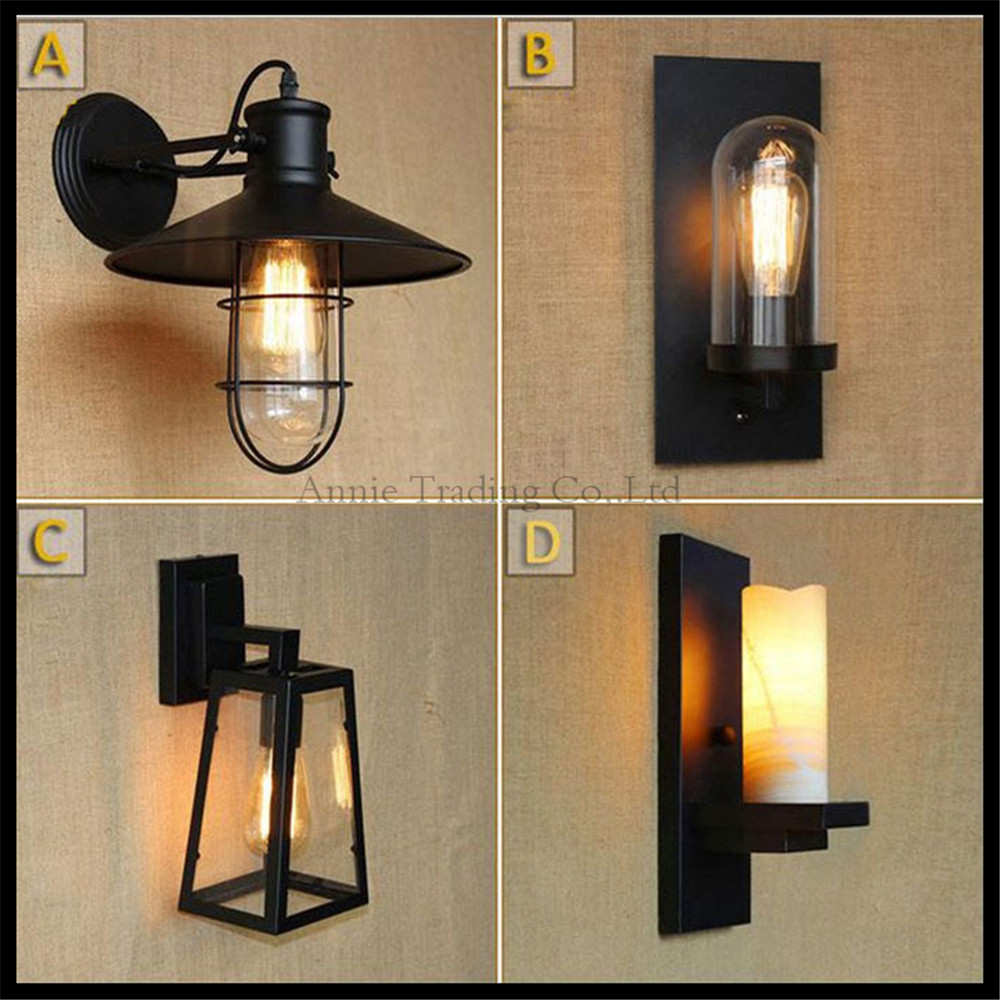 American country style living room wall light industrial warehouse aisle pastoral bedside bar decorate wall lamp glass lampshade