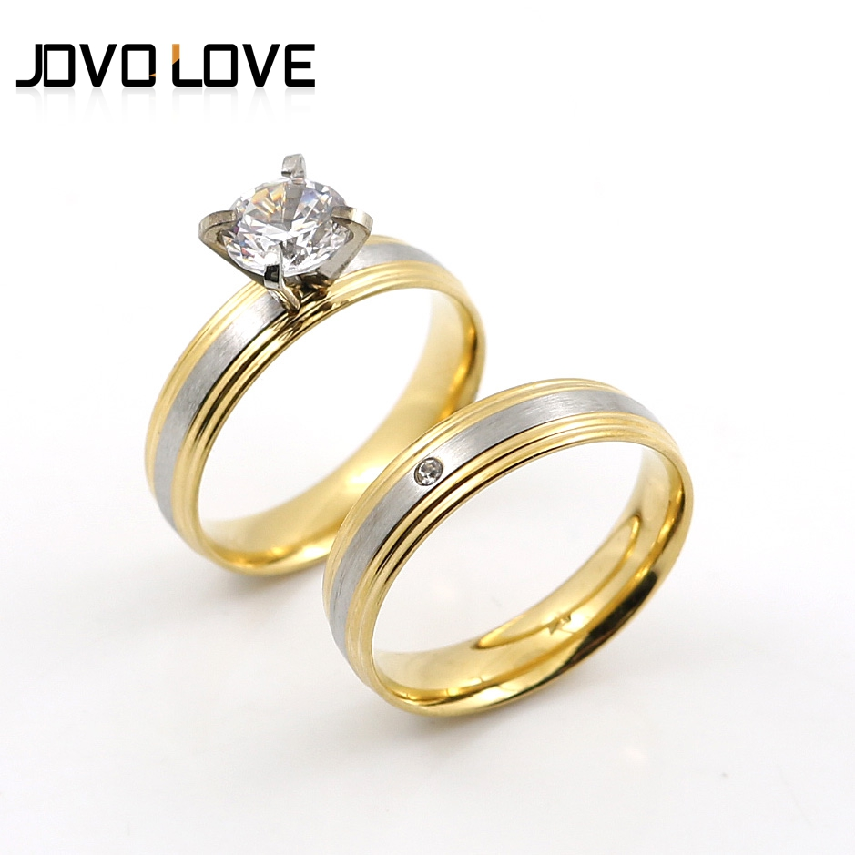 Jovo Fashion Stainless Steel Simple Rings For Lover Wholesale Heart Love Promise  Rings Set In Gold