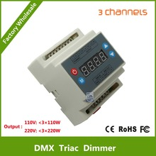 DMX302 DMX triac dimmer led brightness controller AC90-240V 50Hz/60Hz Output high voltage 3channels 1A/CH for led panel light(China (Mainland))