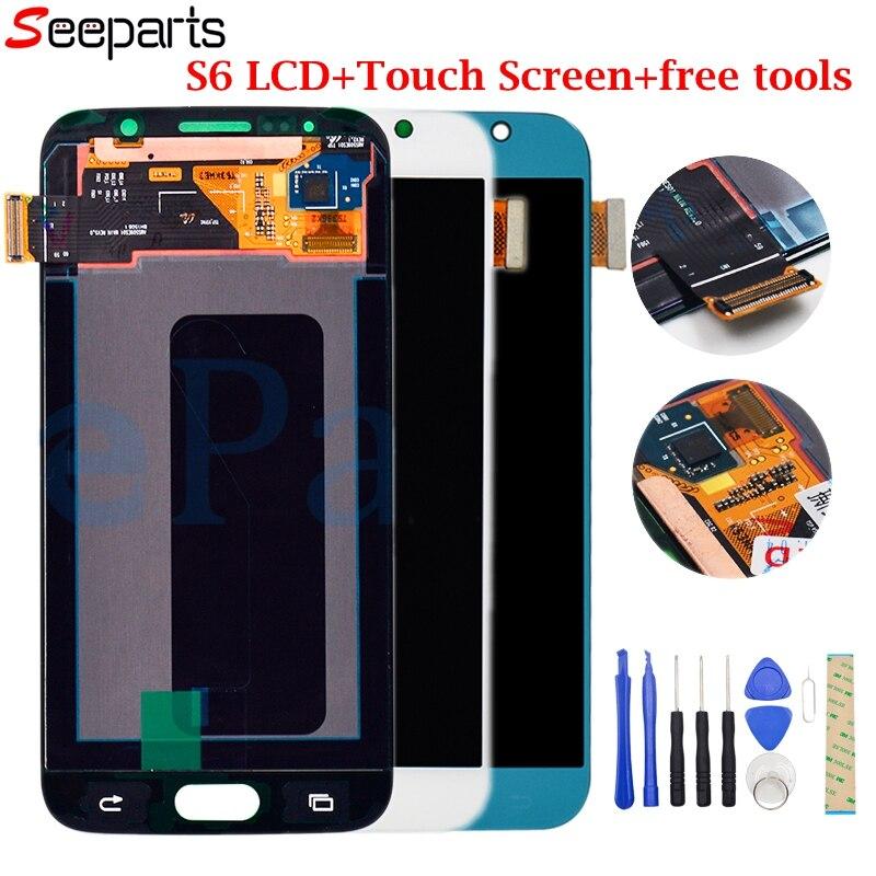 Testé Pour Samsung galaxy S6 G920 écran lcd numériseur à écran tactile G920 G920f G920V G920A G920 remplacement pour Samsung S6 lcd