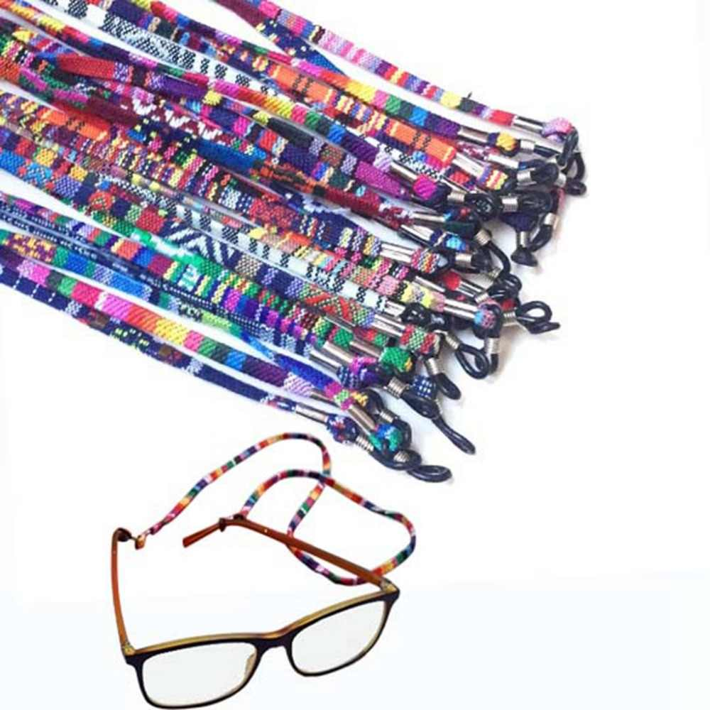 5mm wide Retro Eyeglass sunglasses cotton neck string cord retainer strap eyewear lanyard holder with good silicone loop