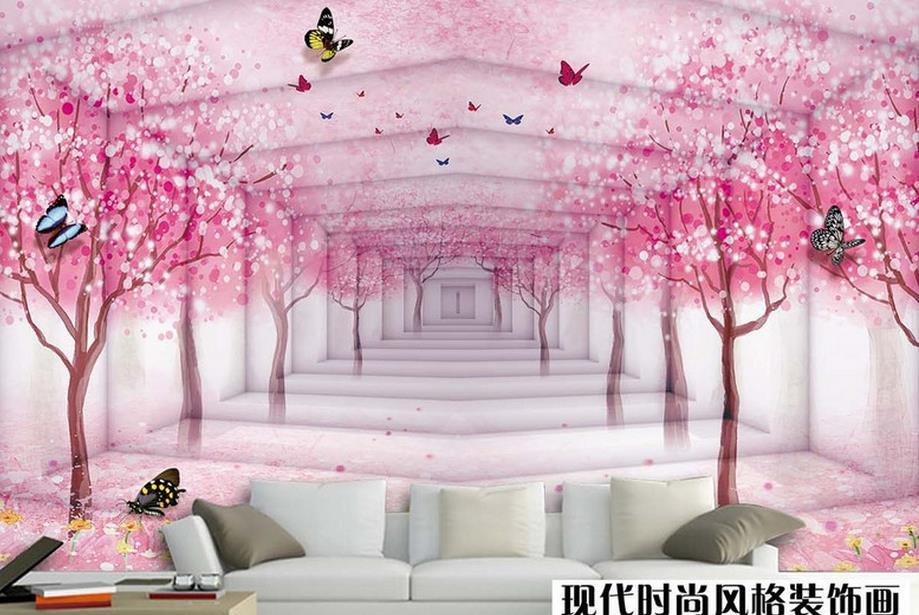 3d cherry blossom papel flor butterfly cerezo murals kitchen murales customized luxury cocina lujo tapiz mariposa personalizado wandbilder fondos schmetterling