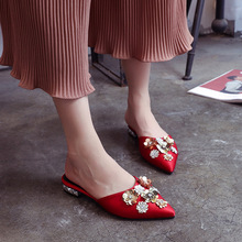 Spring Summer Women Shoes Pointed Toe Flat Woman Slippers Slip On Flower Design Bling Fashion Slip On Loafers Mules Casual Shoes moxxy summer retro leather slippers women printing mules loafers slip on flat sandals black ladies shoes woman zapatos m