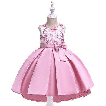 Ballgown Tank Little Girl Tutu Dress  Sation Evening Gown School Costume Summer Children Clothing For Wedding