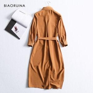 Image 3 - BIAORUINA נשים מוצק אלגנטי ארוך חולצה שמלת אמצע עגל אורך נקבה מקרית צד פיצול שמלת נשים של בציר אונליין שמלה