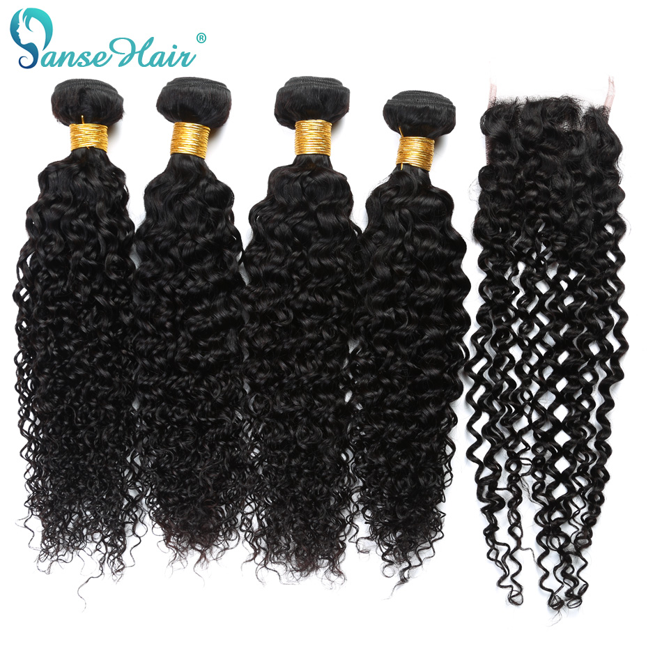 Panse Hair Kinky Curly Brazilian Human Hair Weaving Customized 8 To 26 Inches 1B 4 Bundles With One Lace Closure Free Part