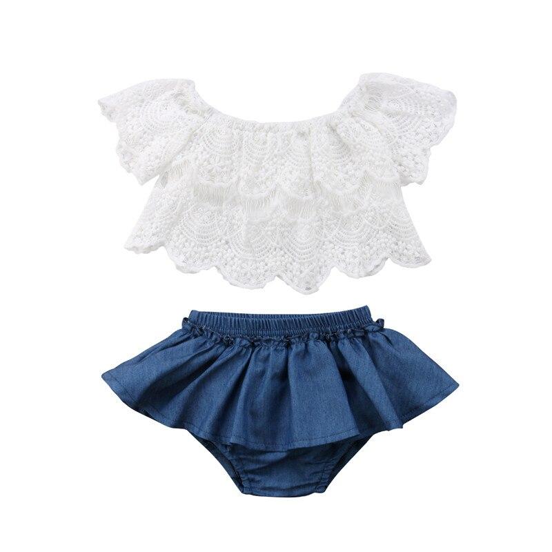 Toddler Baby Girls Off Shoulder Floral Lace Tops+Denim Skirt Shorts Dress Outfit