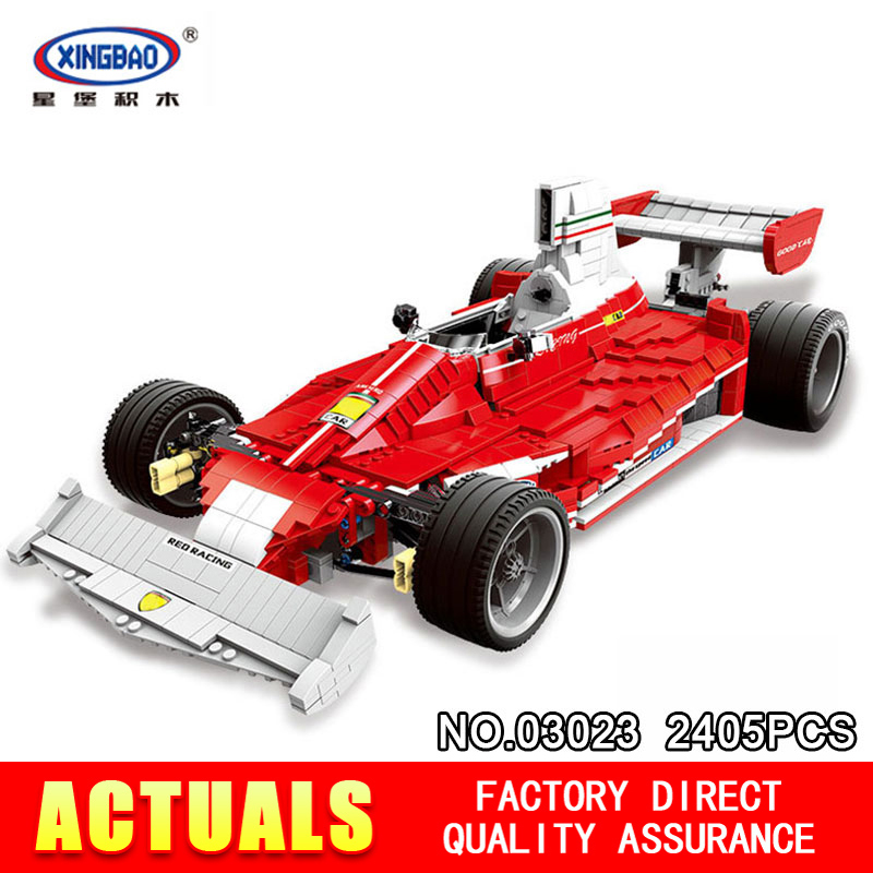 XingBao 03023 Genuine 2405PCS The Red Racing Car Set Building Blocks Bricks Educational Toys for Children Holiday Gifts XB03023