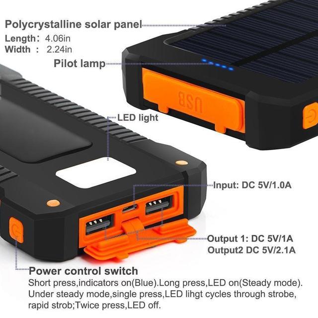 Solar Waterproof Power Bank  30000 mAh
