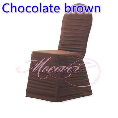 Chocolate Brown Colour Ruffled Chair Covers Universal Lycra Chair Cover  Spandex Pleated Cover Chair Ruched Wedding Decoration