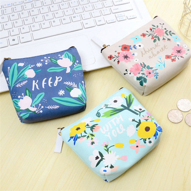 Fashion Flower Children Girls Leather Coin Purses Holders Zipper Cute Mini Money Bag Pouch Kids Small Wallets Coin Bank Case