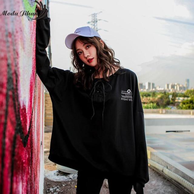 Moda Jihan Women ulzzang Japanese Harajuku Hoodies Street Fashion Woman Long Sleeve Hoodies Oversize Pullover Sweatshirt Print