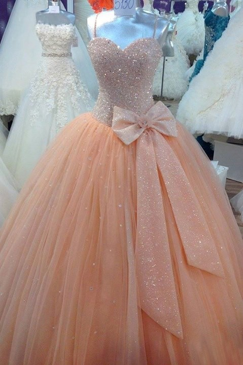 Luxury Quinceanera Vestidos De 15 Anos Actual Image Peach Beaded Tulle Ball Gown Long Party Prom Custom Make   bridesmaid     dresses