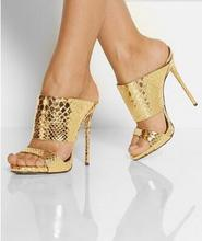 Sexy Gold 120mm Beaded Suede Sandals Cut-outs Metallic Python Slippers High Heel Summer Style Shoes Women Size 34-42 Free Ship