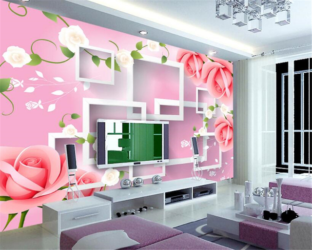 beibehang high rise mural 3D stereo box rose background wall papel ...