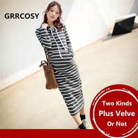 GRRCOSY Maternity Koren Hoodies Pullover Striped Autumn Winter Velvet Dress Pregnancy Clothing Outerwear for Pregnant Woman