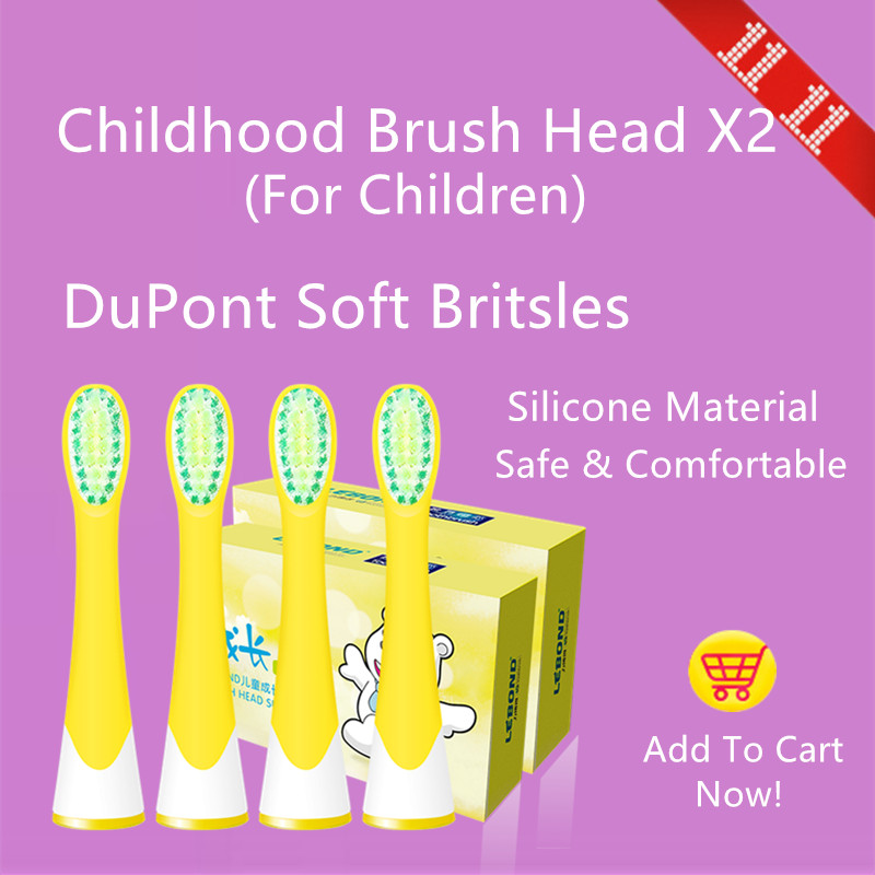 LEBOND Sonic Electric Toothbrush Heads For Kids Children Childhood Series 4 Pcs Silicone Material Soft And Gentle ultra soft children kids cartoon toothbrush dental health massage 1 replaceable head outdoor travel silicone retractable folding