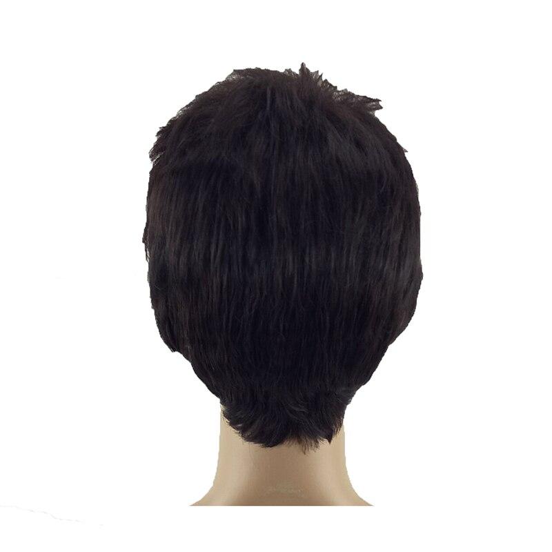 Image 5 - Hairjoy 합성 자연 블랙 가발 남성 여성 짧은 곱슬 머리 계층화 된 머리 레드 브라운 매일 가발 무료 배송합성 없음 레이스 가발   -