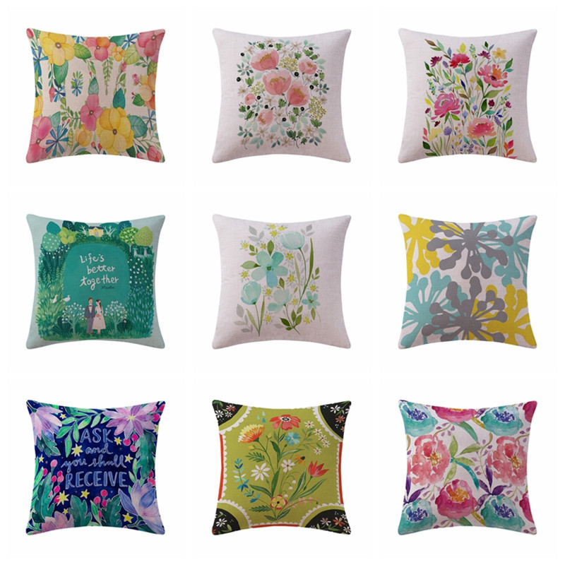 Delightful Korean Secret Garden Cotton Linen Pillowcase Small Fresh Pastoral Cushions Decorative  Pillow Home Decor Sofa Throw Pillows 45*45